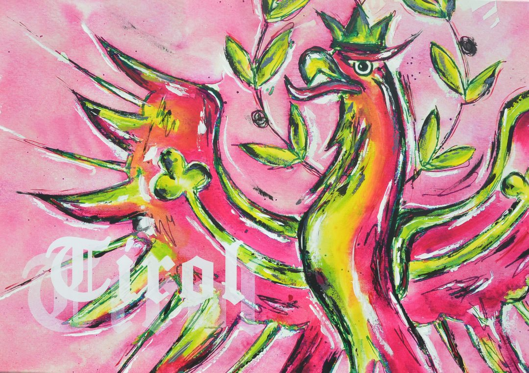 "Aquarell Acrylbild abstrakt ""Tiroler Adler in Pink"""