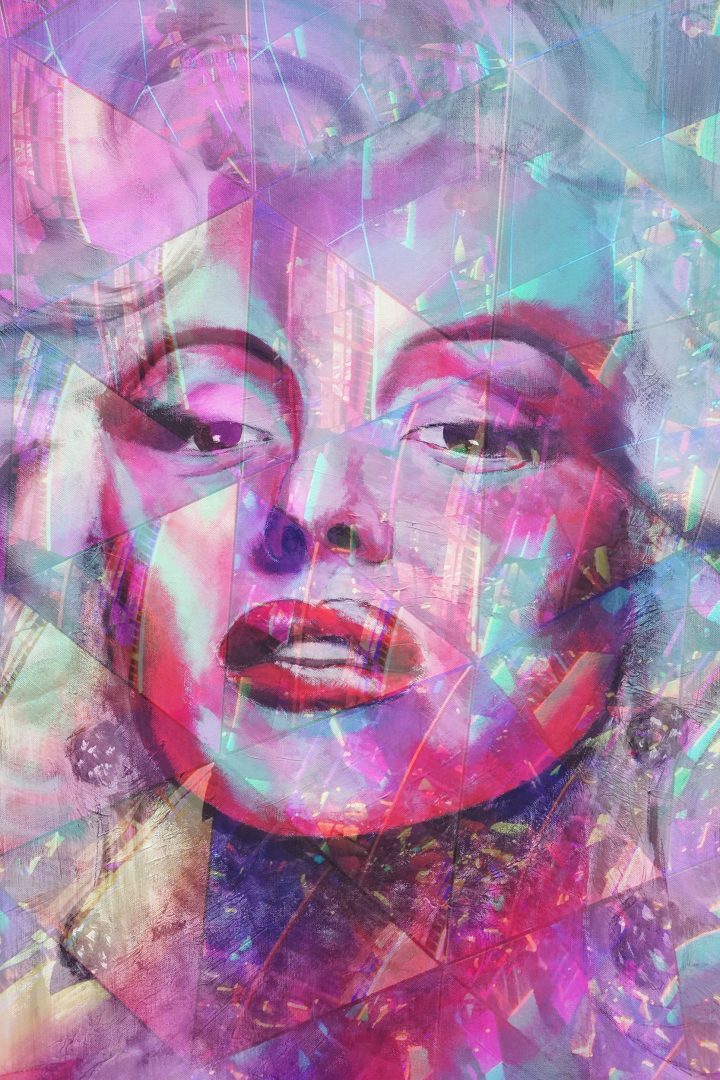"Acryl Portrait ""Crystal MARILYN in PINK"""